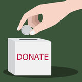 Donation. Hand putting coin in a donation box Royalty Free Stock Photo