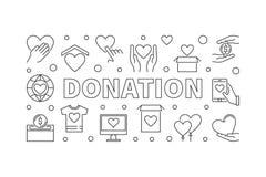 Donation horizontal illustration. Donating vector line banner. Donation horizontal illustration. Donating money vector linear concept banner on white background Royalty Free Stock Images