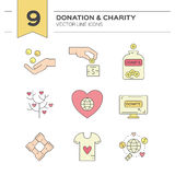 Donation Icons. Graphic elements for nonprofit organizations and donation centres. Fundraising symbols made in vector. Crowdfunding project label. Vector line Royalty Free Stock Images