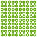 100 donation icons hexagon green. 100 donation icons set in green hexagon isolated vector illustration Royalty Free Stock Photography