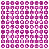 100 donation icons hexagon violet. 100 donation icons set in violet hexagon isolated vector illustration stock illustration