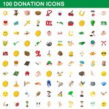100 donation icons set, cartoon style. 100 donation icons set in cartoon style for any design illustration vector illustration