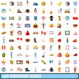 100 donation icons set, cartoon style. 100 donation icons set in cartoon style for any design vector illustration royalty free illustration