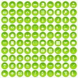 100 donation icons set green circle. Isolated on white background vector illustration Royalty Free Stock Photo