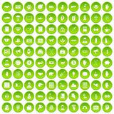 100 donation icons set green. 100 donation icons set in green circle isolated on white vectr illustration Royalty Free Stock Photos