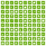 100 donation icons set grunge green Stock Photos