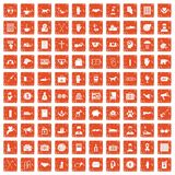 100 donation icons set grunge orange. 100 donation icons set in grunge style orange color isolated on white background vector illustration Stock Photo