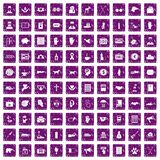 100 donation icons set grunge purple Royalty Free Stock Image