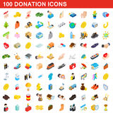 100 donation icons set, isometric 3d style. 100 donation icons set in isometric 3d style for any design vector illustration Royalty Free Stock Image