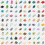100 donation icons set, isometric 3d style Royalty Free Stock Photo