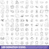 100 donation icons set, outline style. 100 donation icons set in outline style for any design vector illustration Royalty Free Stock Photo