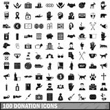100 donation icons set, simple style Stock Photos