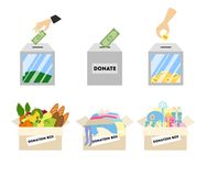Donation illustrations set. Royalty Free Stock Image