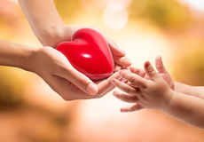 Donation of life - give a heart to baby Royalty Free Stock Photos