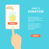 Donation Money by Online Concept. Vector Royalty Free Stock Photography