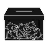 Donation moneybox icon in black style isolated on white background. Charity and donation symbol stock vector Royalty Free Stock Photography