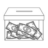 Donation moneybox icon in outline style isolated on white background.  Royalty Free Stock Photo