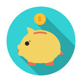 Donation piggybank icon in flat style isolated on white background. Charity and donation symbol stock vector Stock Photos