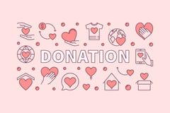 Donation pink horizontal illustration. Donating vector banner. Donation pink horizontal illustration. Donating money vector creative banner Royalty Free Stock Photo