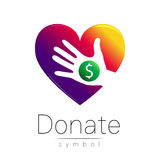 Donation sign icon. Donate money hand and heart. Charity or endowment symbol. Human helping. on white background. Vector Stock Photography