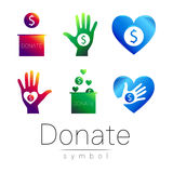 Donation sign icon Set. Donate money box, hand, heart. Charity or endowment symbol. Human helping. on white background Royalty Free Stock Photo