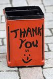 Donation Tin. In the street Stock Image