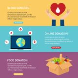 Donation vector concept illustrations. Blood donation, online do Royalty Free Stock Image