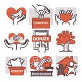 Donation and volunteer work icons Stock Photography