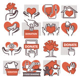 Donation and volunteer work icons. Symbols or logo of human care, assistance for health, help and hope sign, medical charity and blood giving. Flat design royalty free illustration