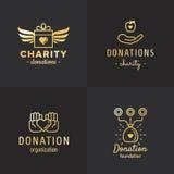 Donationer och för logotappning för välgörenhet den guld- vektorn ställde in del två Arkivfoto