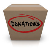 Donations Cardboard Box Food Charity Drive. The word Donations on a cardboard box to illustrate a food or clothing drive for needy or homeless people or Stock Images