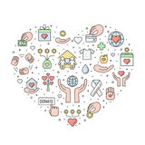 Donations and charity colored outline heart illustration. Royalty Free Stock Photos