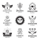 Donations and charity logo vintage vector set. Part two. Royalty Free Stock Photos