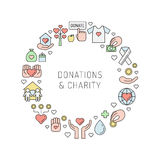 Donations and charity multicolored outline circle frame. Royalty Free Stock Images