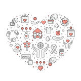 Donations and charity (red and gray) heart illustration (background). Simple outline design. Stock Images