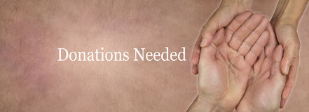 Donations Needed Website Banner royalty free stock photo