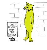 Donations. Nonprofit cartoon about a cat who may or may not accept your donation Royalty Free Stock Photos