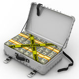 Donations. Suitcase full of money. A suitcase filled with packs of American dollars and yellow tapes with text `DONATIONS`. . 3D Illustration Stock Photos