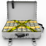 Donations. Suitcase full of money. A suitcase filled with packs of American dollars and yellow tapes with text `DONATIONS`. . 3D Illustration Royalty Free Stock Photos
