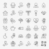 Donationvolontärlinje symbolsuppsättning vektor illustrationer