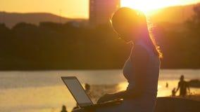 Donau bij zonsondergang en een vrouw met laptop stock footage