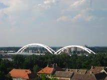 Donau, Brug, Trein, Zezelj, Novi Sad, Perovaradin-vesting stock afbeeldingen