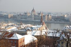 Budapest in winter. River Donau through Budapest in winter, Hungary stock images
