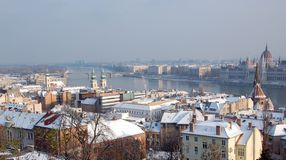 Budapest in winter. River Donau through Budapest in winter, Hungary royalty free stock photo