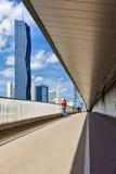 Donau市维也纳和全新的DC塔地平线  免版税库存照片