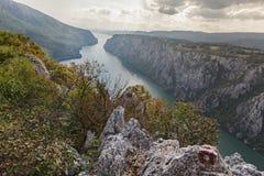 Donau i den Djerdap nationalparken, Serbien Arkivbild
