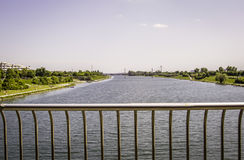 Donau i Wien, Österrike Arkivbild