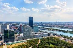 Donau-Stadt in Wien, schöne Vogelperspektive stockfoto