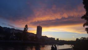 Donau Wenen Oostenrijk Stock Afbeeldingen