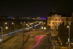 Donauen och trafiken Fotografering för Bildbyråer